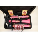 CLARINETE COLOR ROSA ABS, CON LLAVES PLATEADAS EN SIB